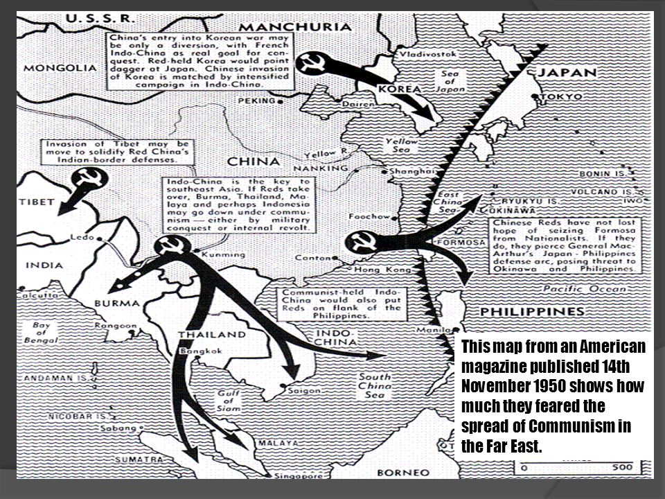 This map from an American magazine published 14th November 1950 shows how much they feared the spread of Communism in the Far East.