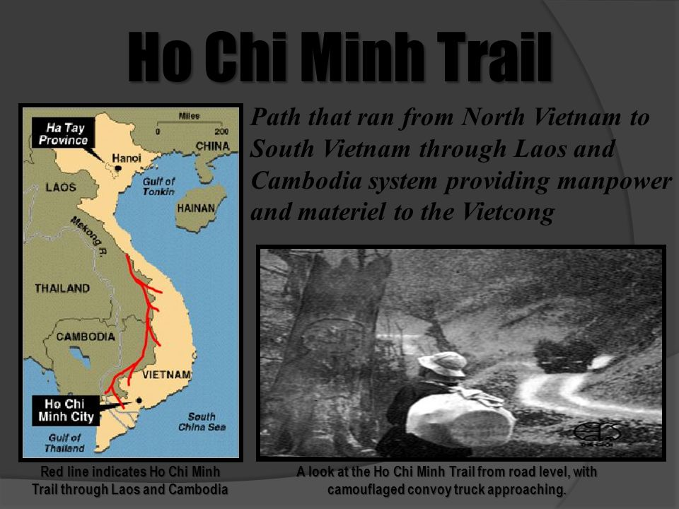Red line indicates Ho Chi Minh Trail through Laos and Cambodia