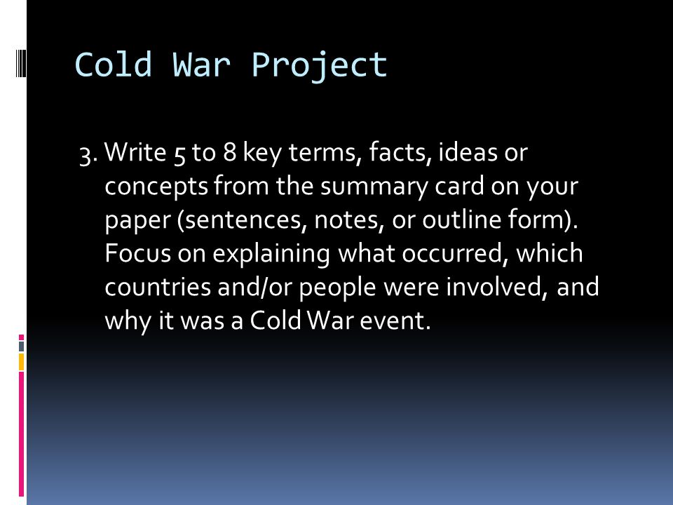 events during the cold war essay I have to write and essay on kennedys foreign and possibly domestic policies and actions and how they contributed to the cold war i am not sure where to start.