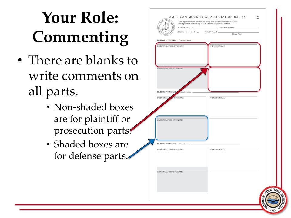 Your Role: Commenting There are blanks to write comments on all parts.
