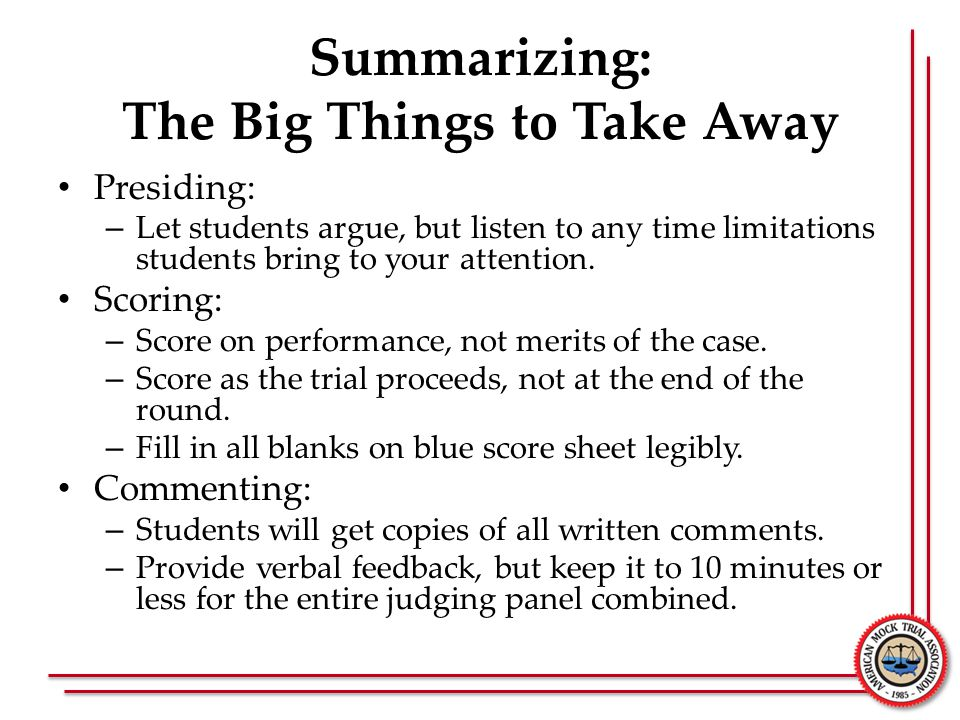 Summarizing: The Big Things to Take Away