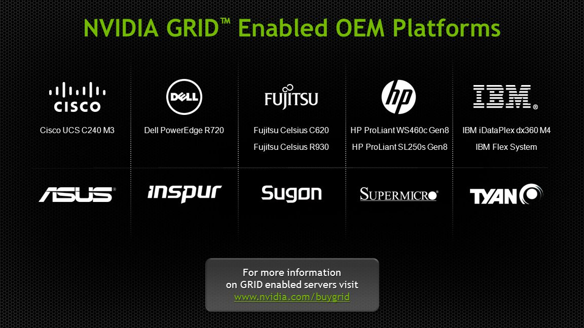 NVIDIA GRID™ Enabled OEM Platforms