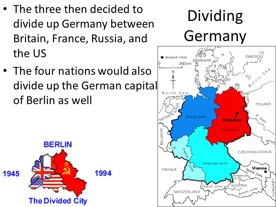 Dividing Germany The three then decided to divide up Germany between Britain, France, Russia, and the US.