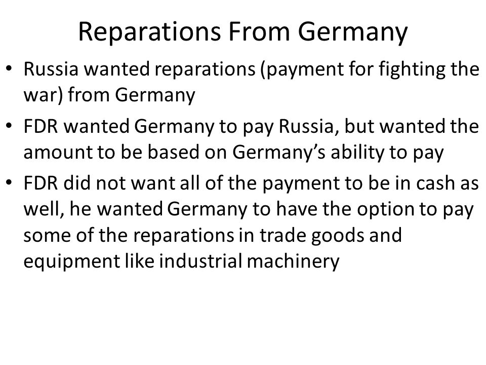 Reparations From Germany