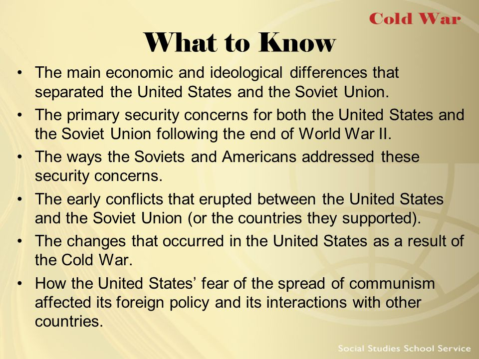 What to Know The main economic and ideological differences that separated the United States and the Soviet Union.