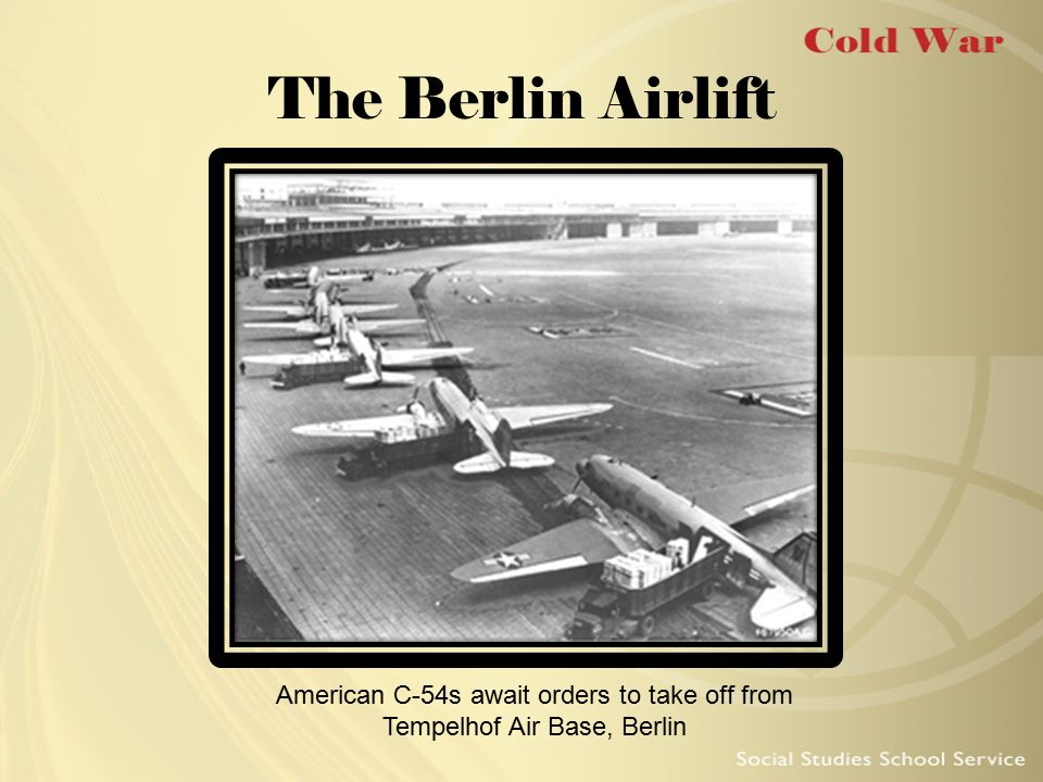 The Berlin Airlift American C-54s await orders to take off from Tempelhof Air Base, Berlin