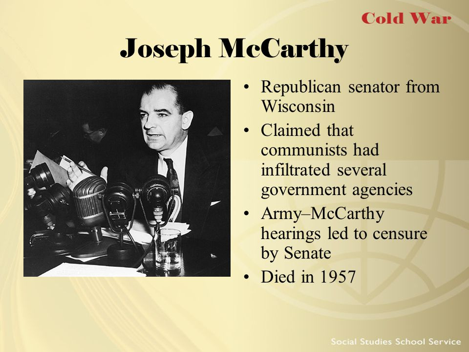 Joseph McCarthy Republican senator from Wisconsin