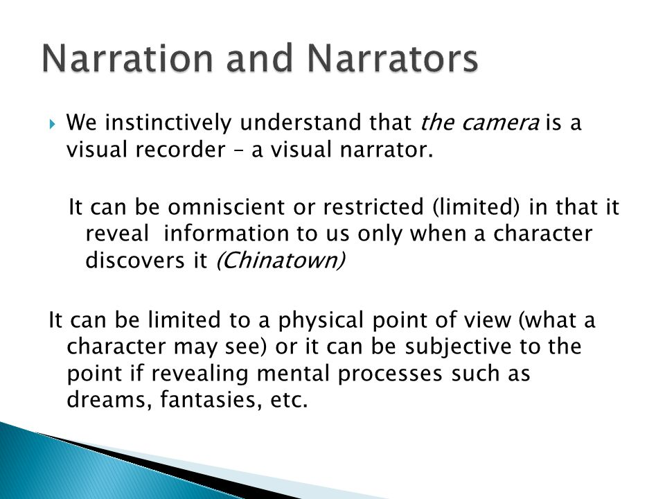 Narration and Narrators