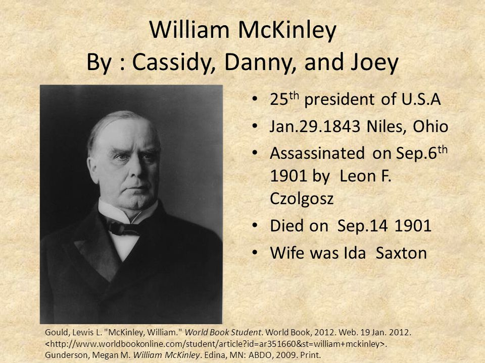 William McKinley By : Cassidy, Danny, and Joey