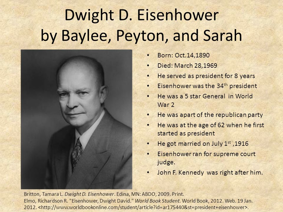 Dwight D. Eisenhower by Baylee, Peyton, and Sarah