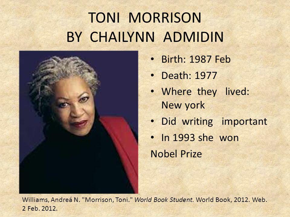 TONI MORRISON BY CHAILYNN ADMIDIN