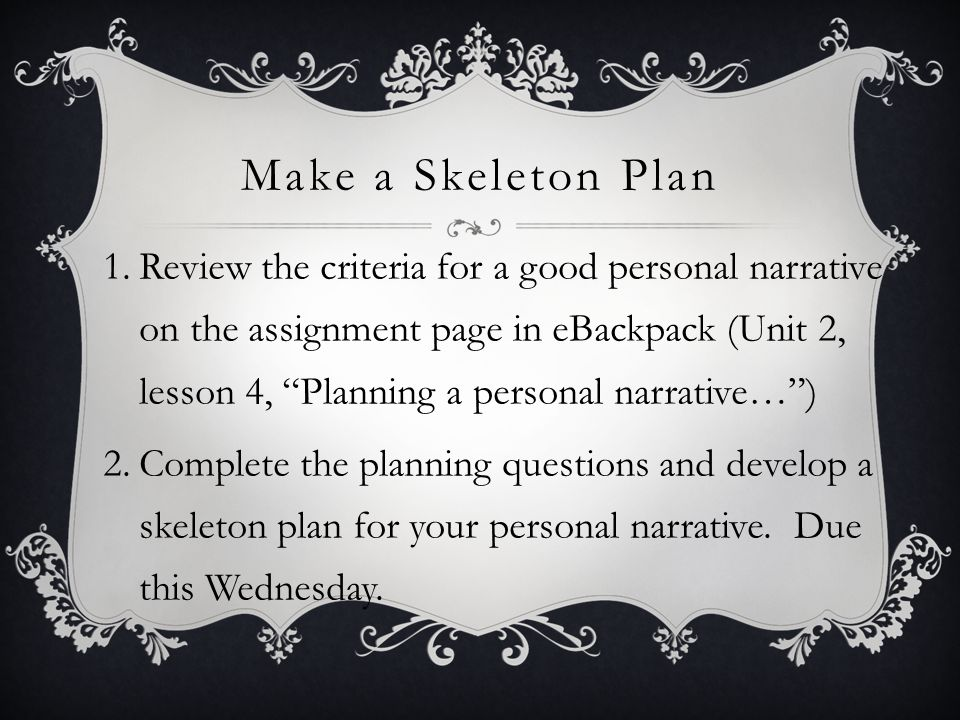 Make a Skeleton Plan