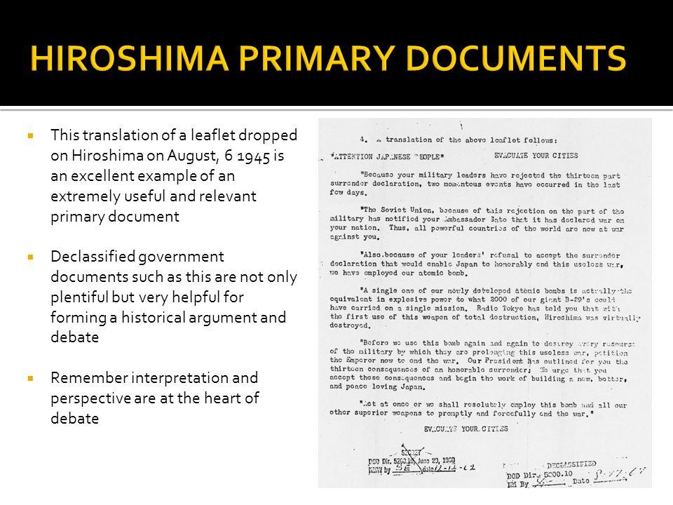 HIROSHIMA PRIMARY DOCUMENTS