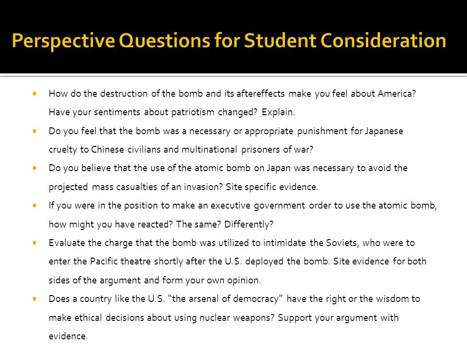 Perspective Questions for Student Consideration