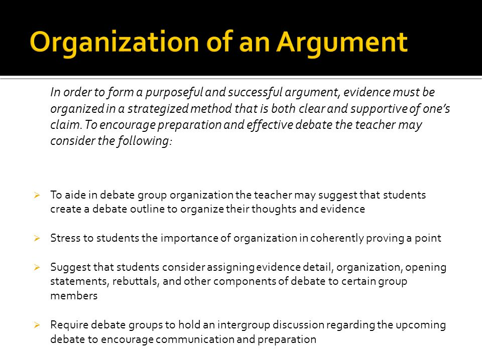 Organization of an Argument