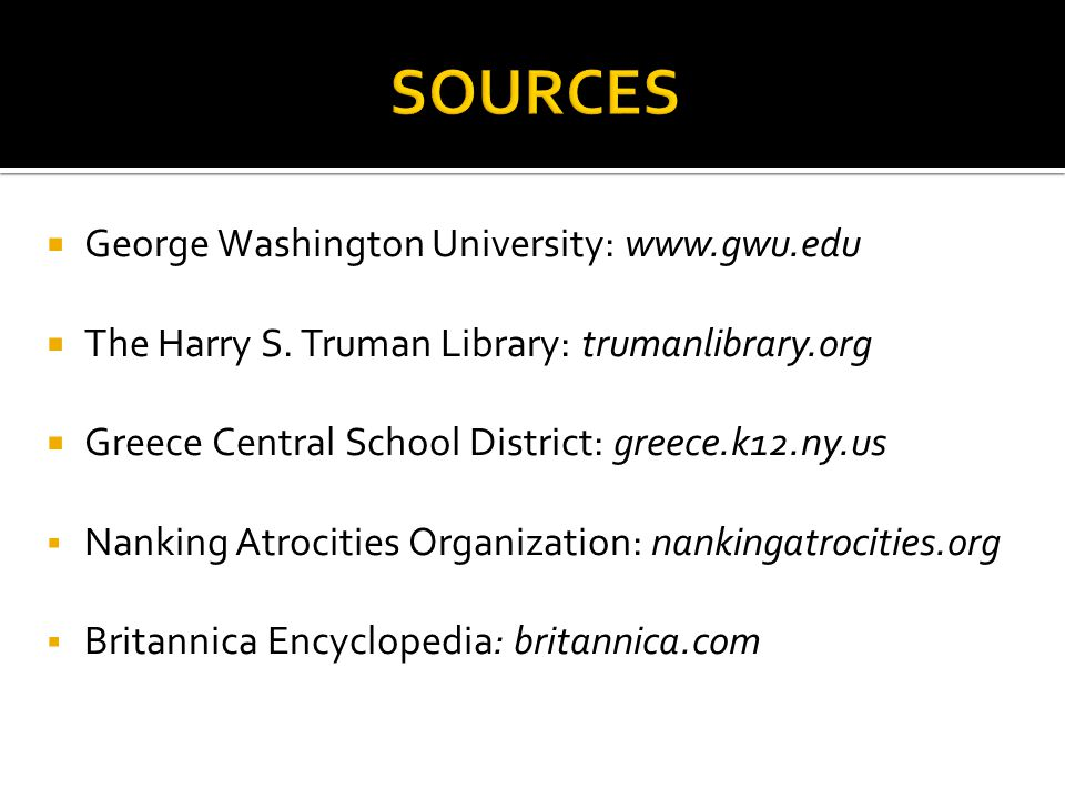 SOURCES George Washington University: www.gwu.edu