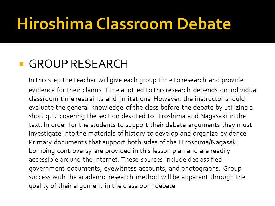 Hiroshima Classroom Debate