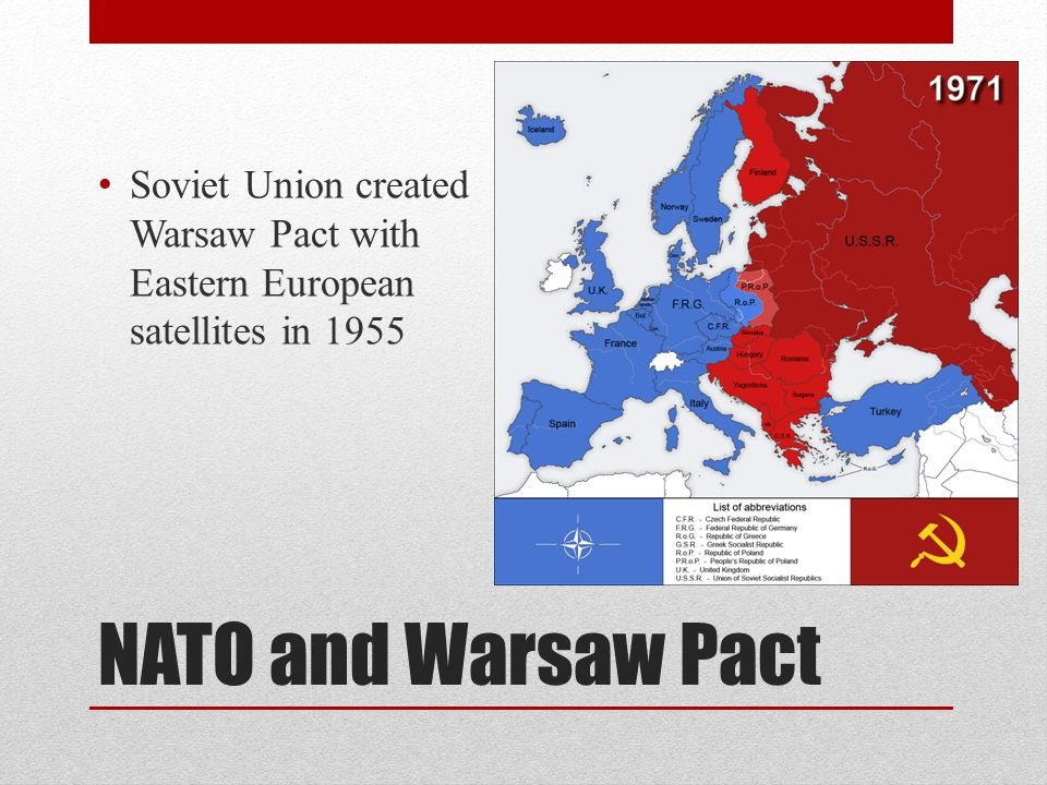 Soviet Union created Warsaw Pact with Eastern European satellites in 1955