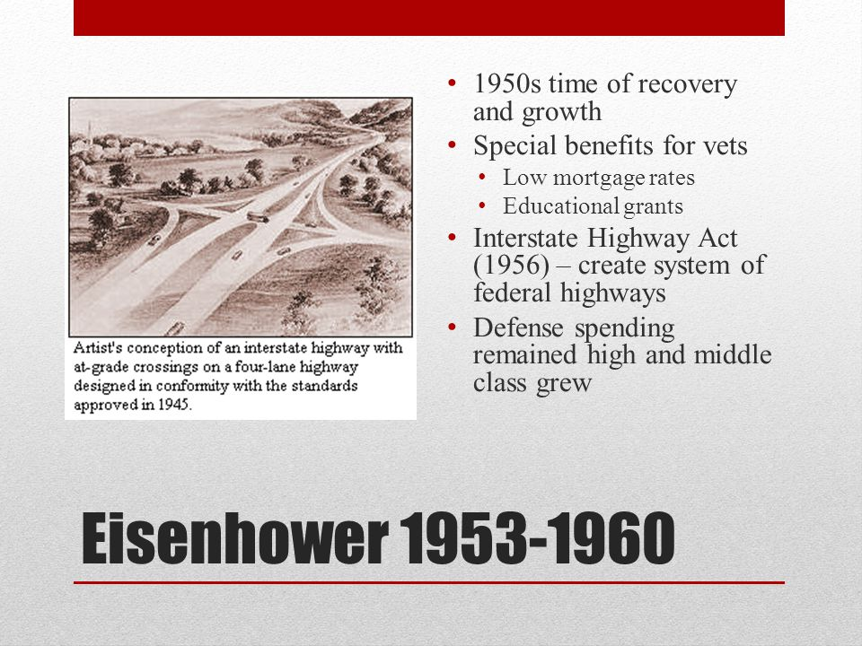 Eisenhower 1953-1960 1950s time of recovery and growth