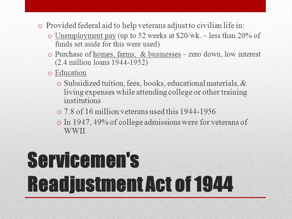 Servicemen s Readjustment Act of 1944