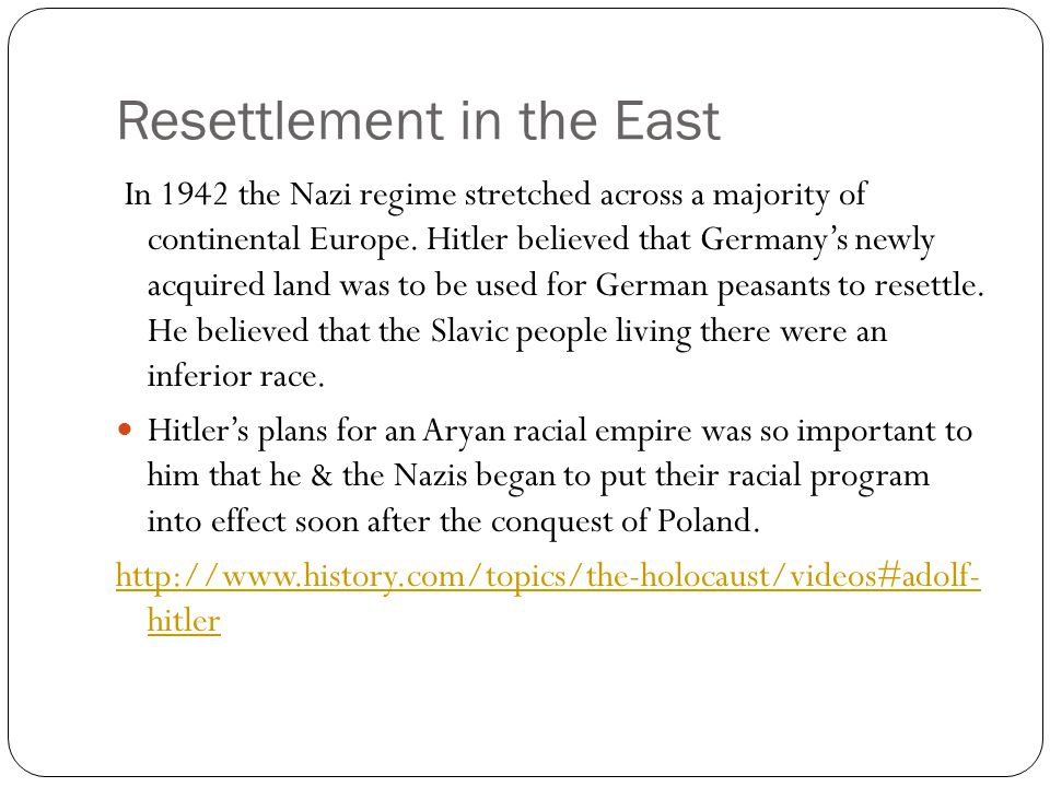 Resettlement in the East