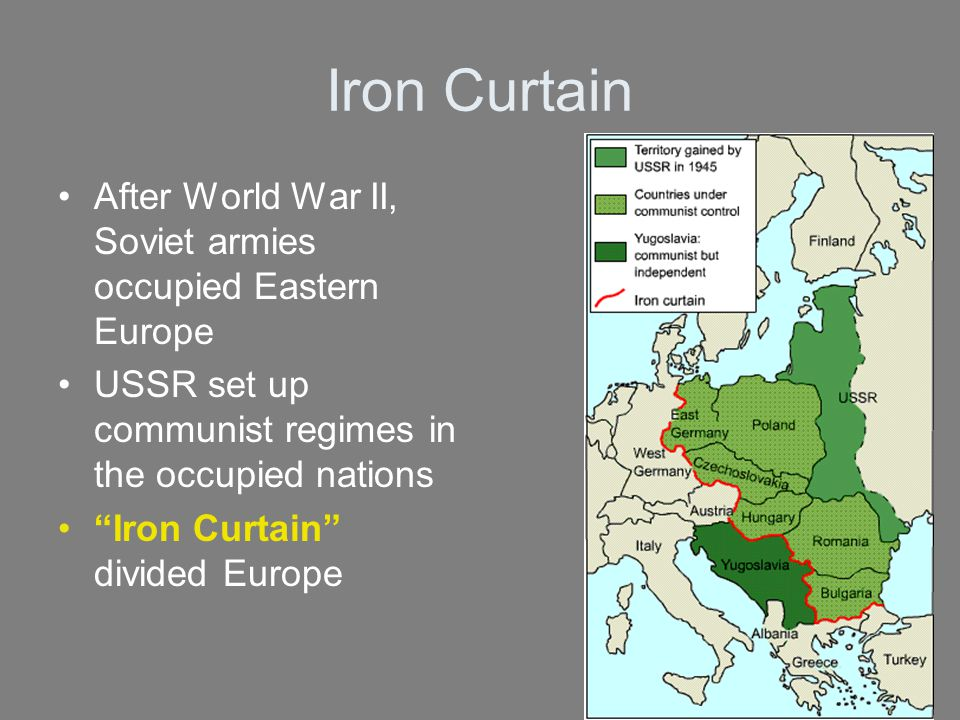 Iron Curtain After World War II, Soviet armies occupied Eastern Europe