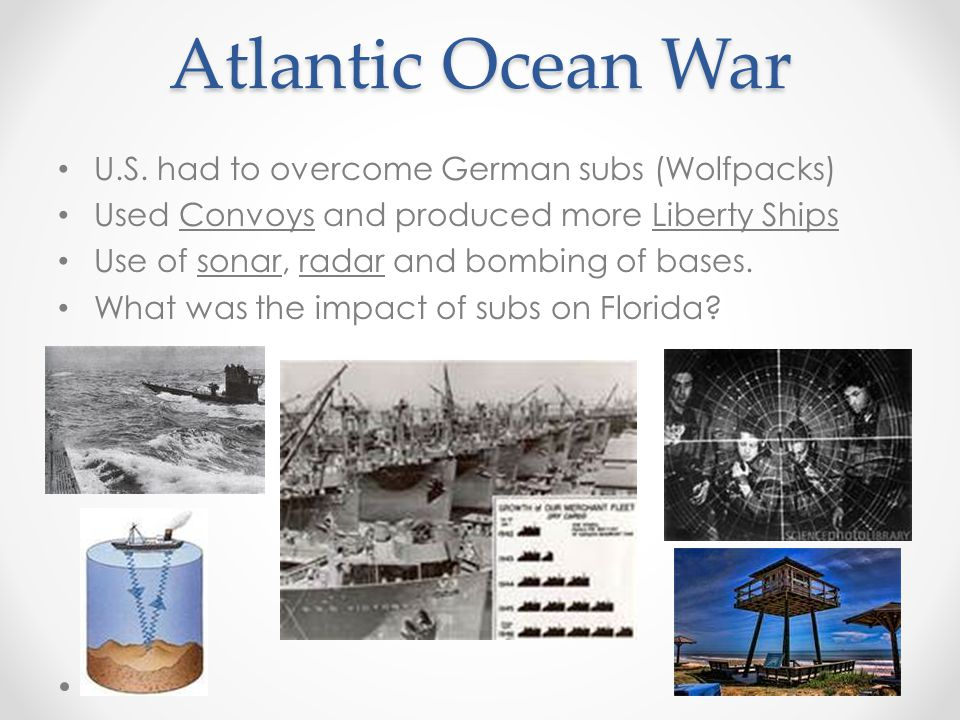 Atlantic Ocean War U.S. had to overcome German subs (Wolfpacks)