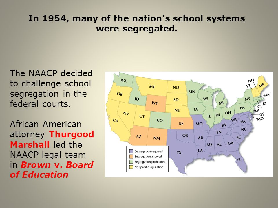 In 1954, many of the nation's school systems were segregated.