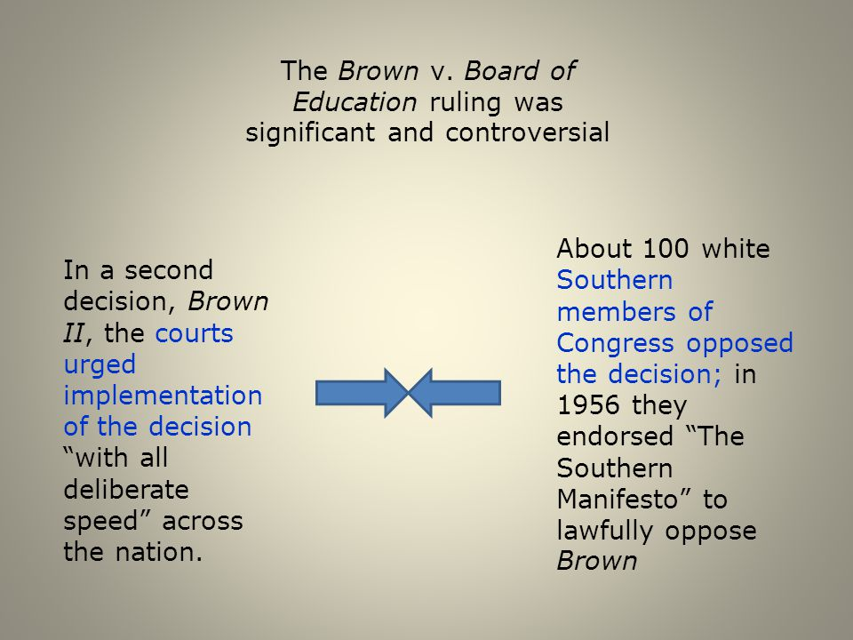 The Brown v. Board of Education ruling was significant and controversial
