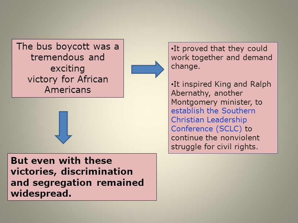 The bus boycott was a tremendous and exciting victory for African Americans