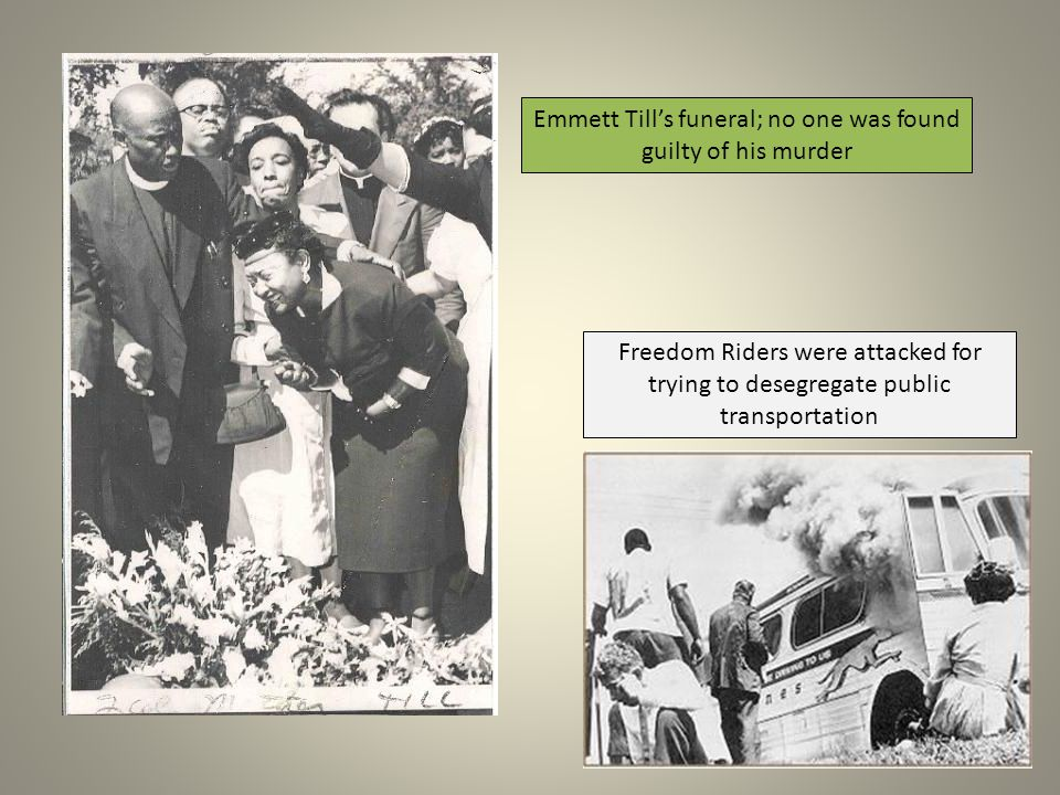 Emmett Till's funeral; no one was found guilty of his murder
