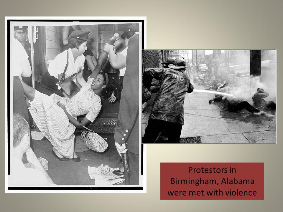 Protestors in Birmingham, Alabama were met with violence