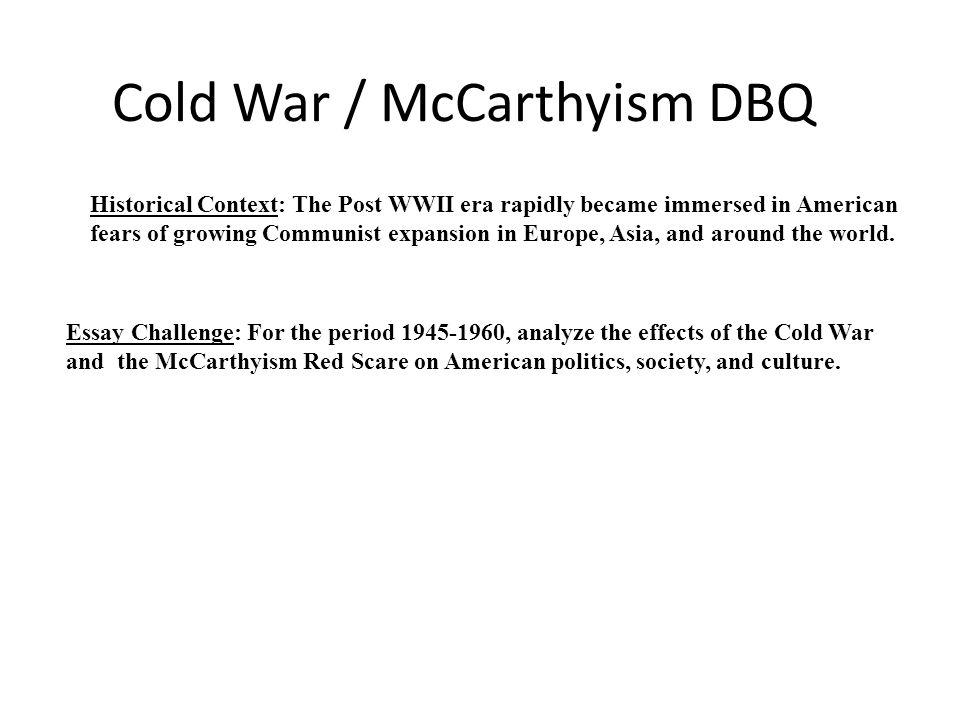 Cold War / McCarthyism DBQ