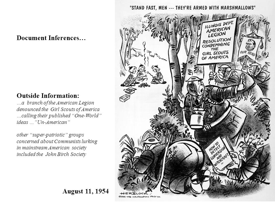 Document Inferences… Outside Information: August 11, 1954
