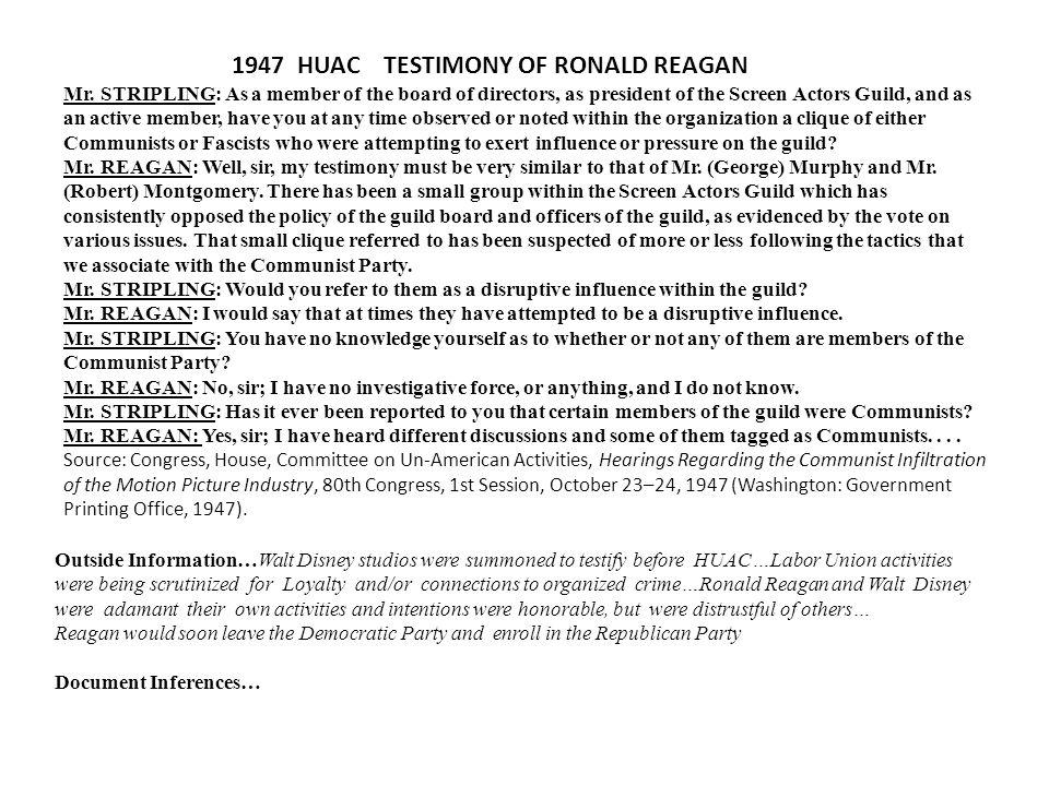 1947 HUAC TESTIMONY OF RONALD REAGAN