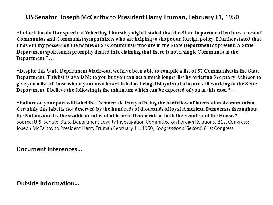 US Senator Joseph McCarthy to President Harry Truman, February 11, 1950