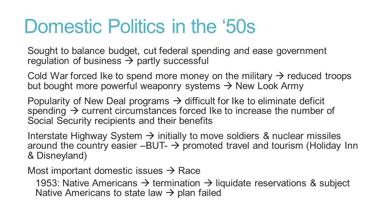 Domestic Politics in the '50s