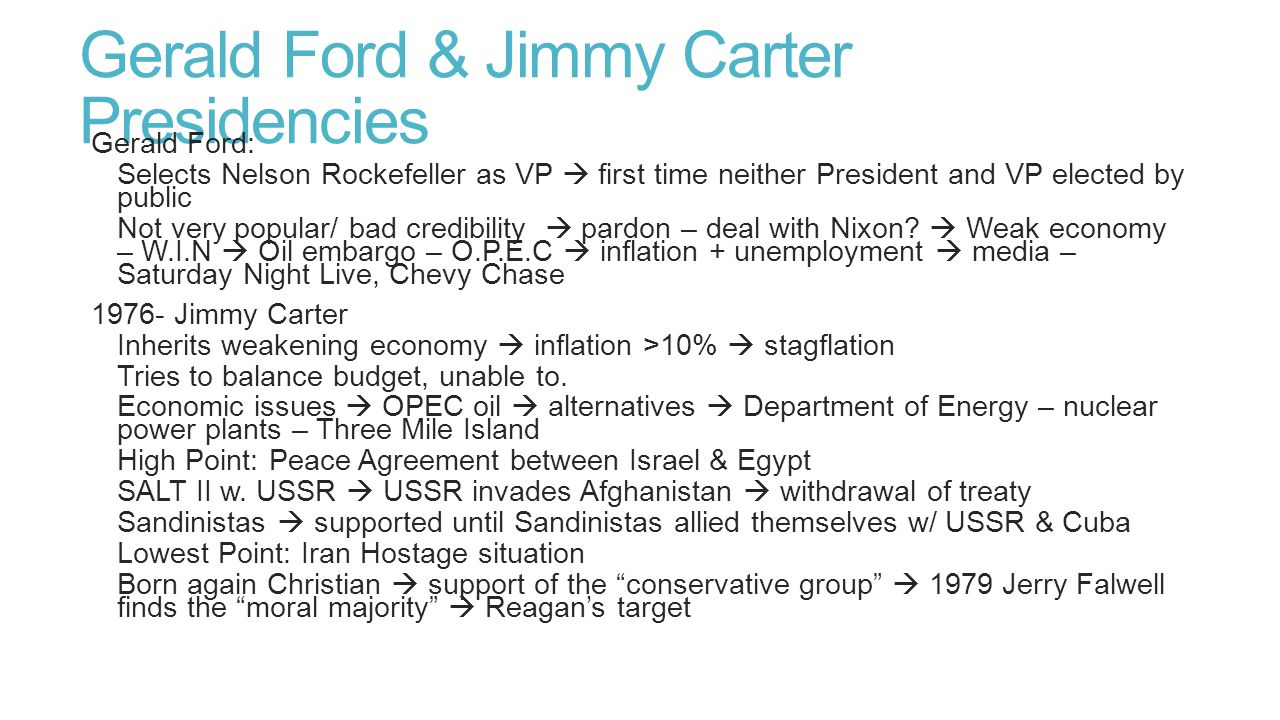 Gerald Ford & Jimmy Carter Presidencies