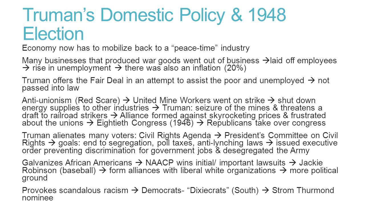 Truman's Domestic Policy & 1948 Election