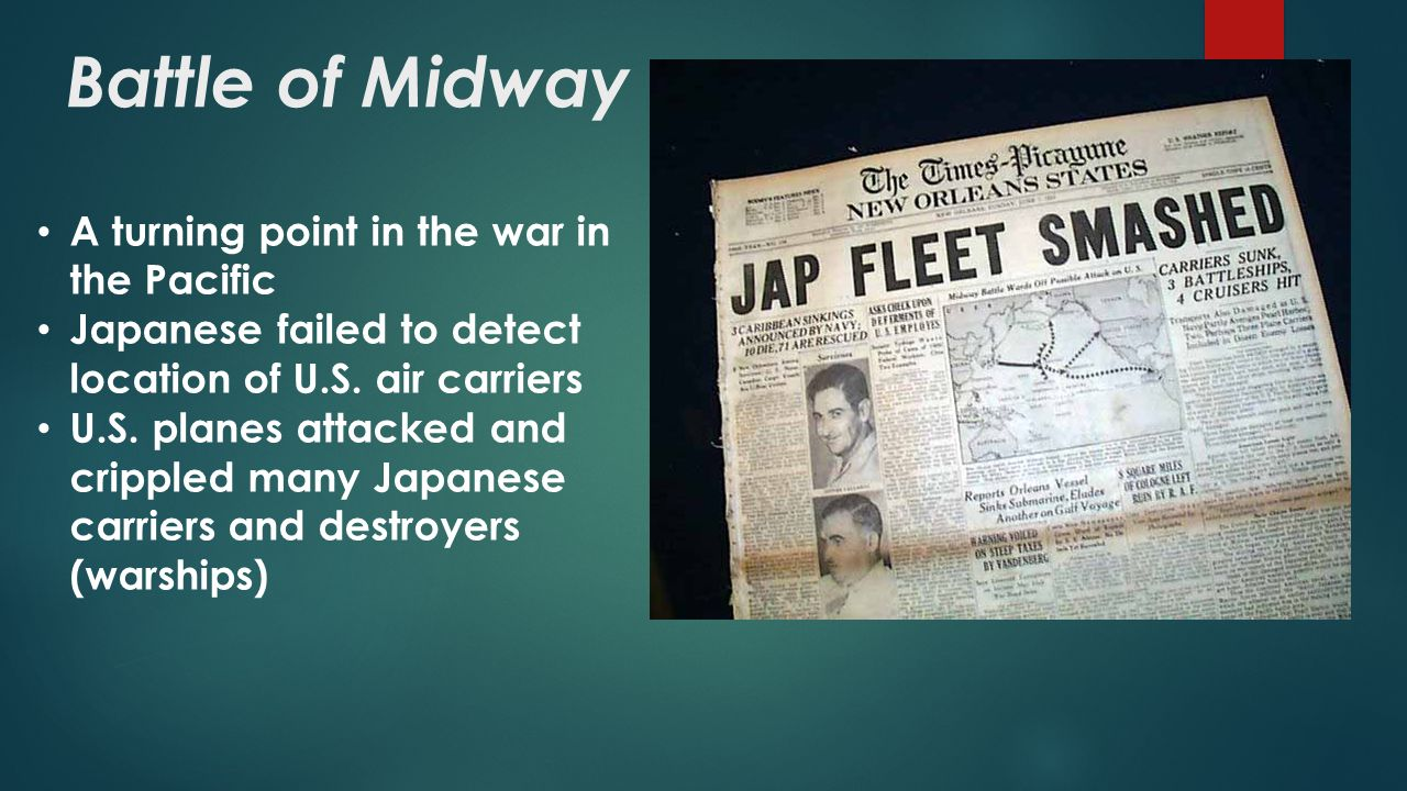 Battle of Midway A turning point in the war in the Pacific