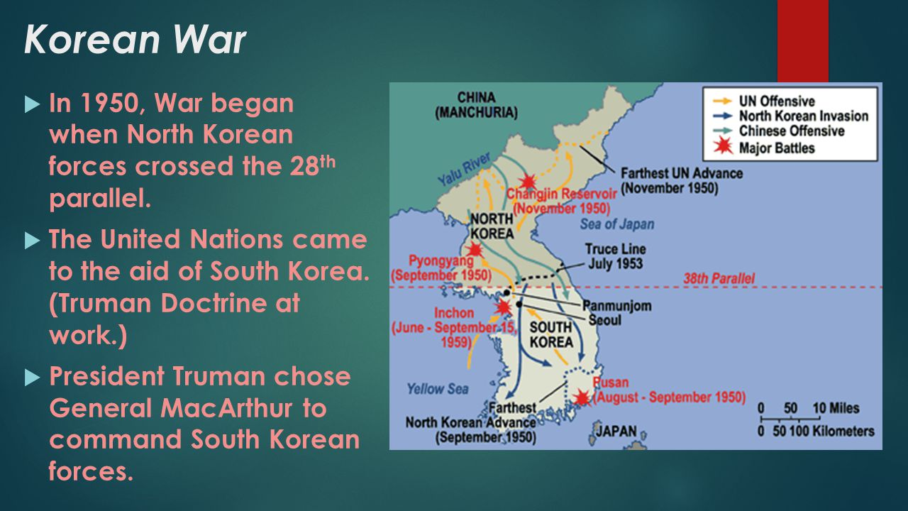 Korean War In 1950, War began when North Korean forces crossed the 28th parallel.