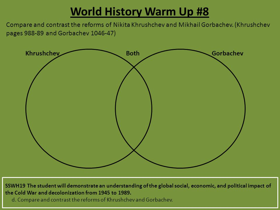 World History Warm Up #8 Compare and contrast the reforms of Nikita Khrushchev and Mikhail Gorbachev. (Khrushchev pages 988-89 and Gorbachev 1046-47)