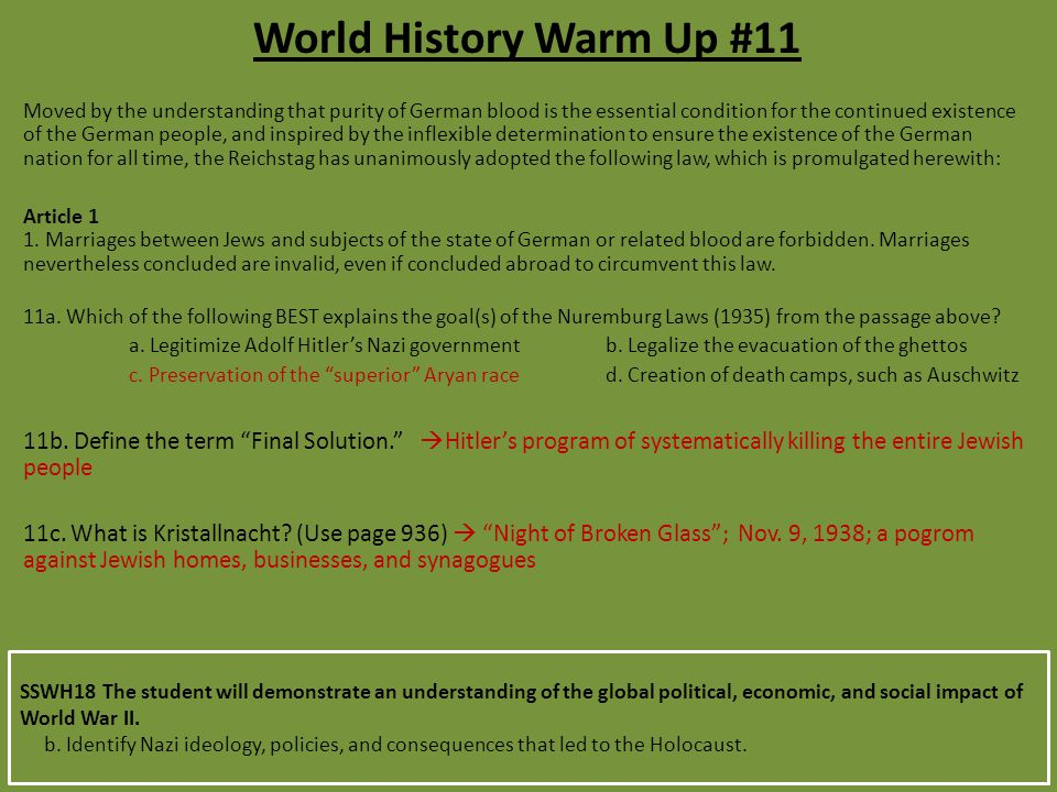 World History Warm Up #11