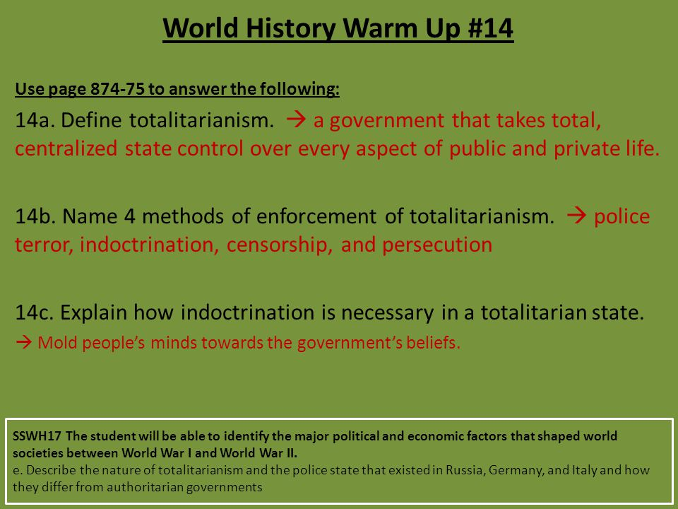 World History Warm Up #14 Use page 874-75 to answer the following: