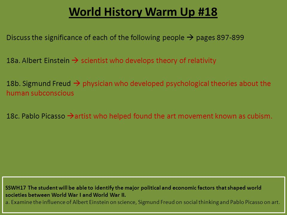 World History Warm Up #18 Discuss the significance of each of the following people  pages 897-899.