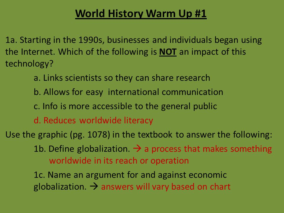 World History Warm Up #1