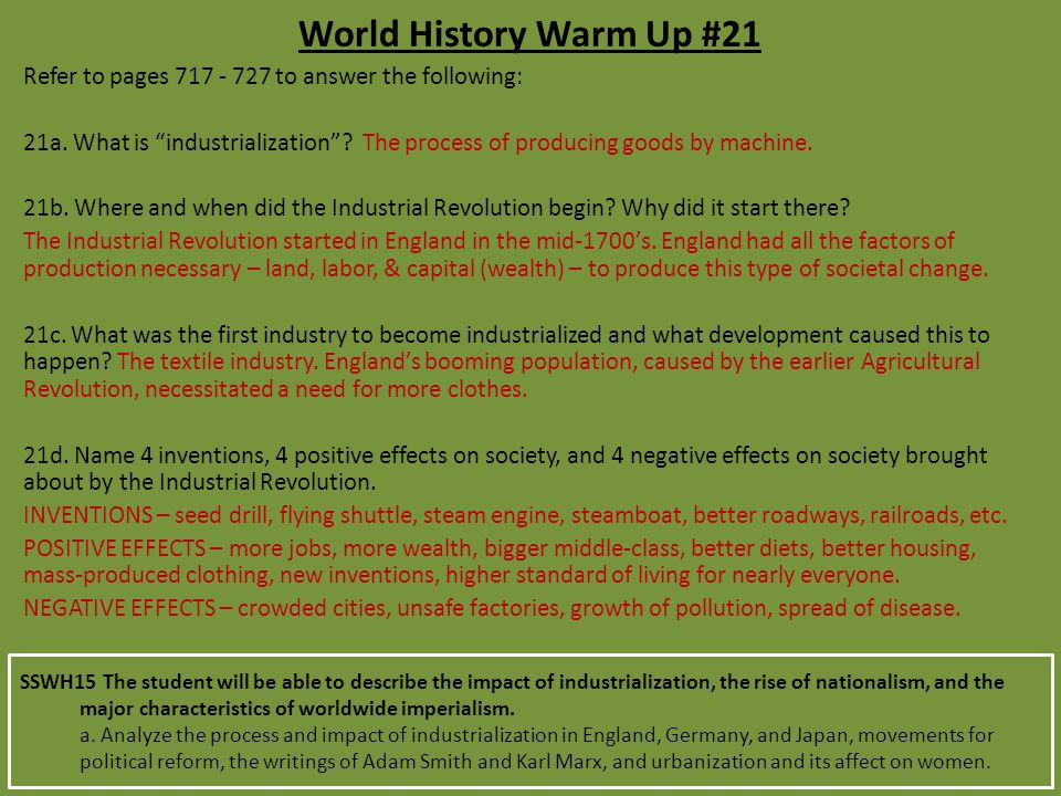 World History Warm Up #21 Refer to pages 717 - 727 to answer the following: