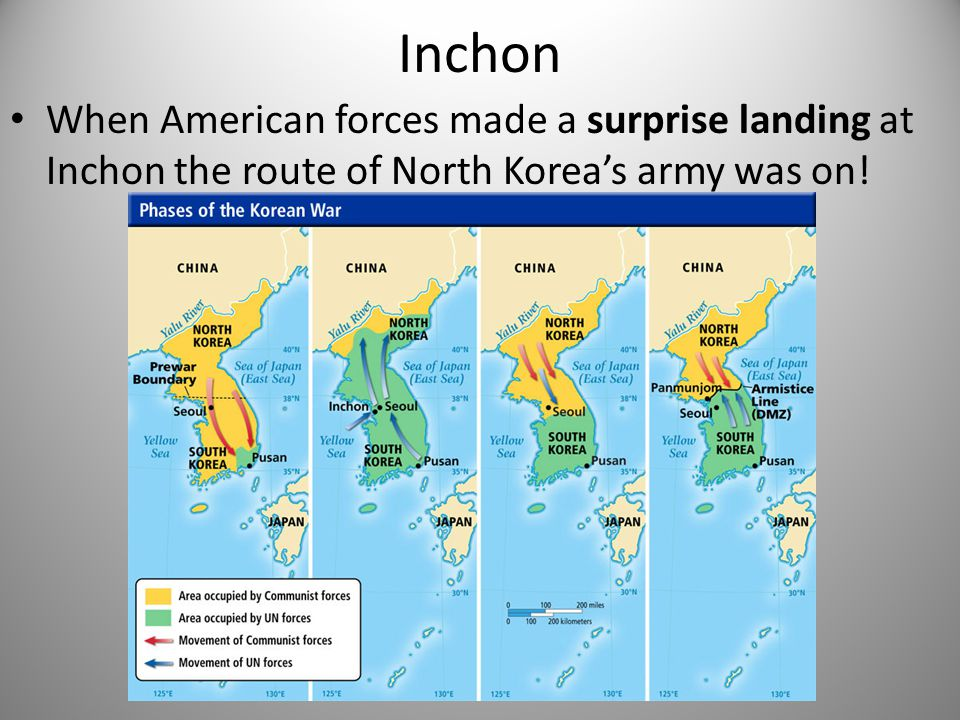 Inchon When American forces made a surprise landing at Inchon the route of North Korea's army was on!