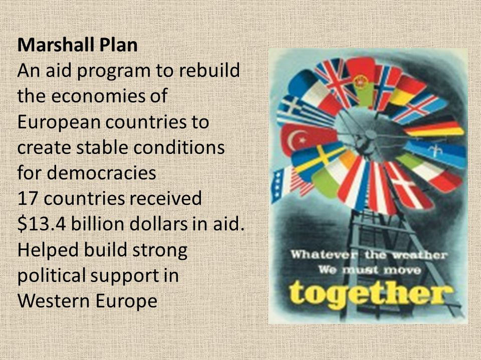 Marshall Plan An aid program to rebuild the economies of European countries to create stable conditions for democracies 17 countries received $13.4 billion dollars in aid. Helped build strong political support in Western Europe