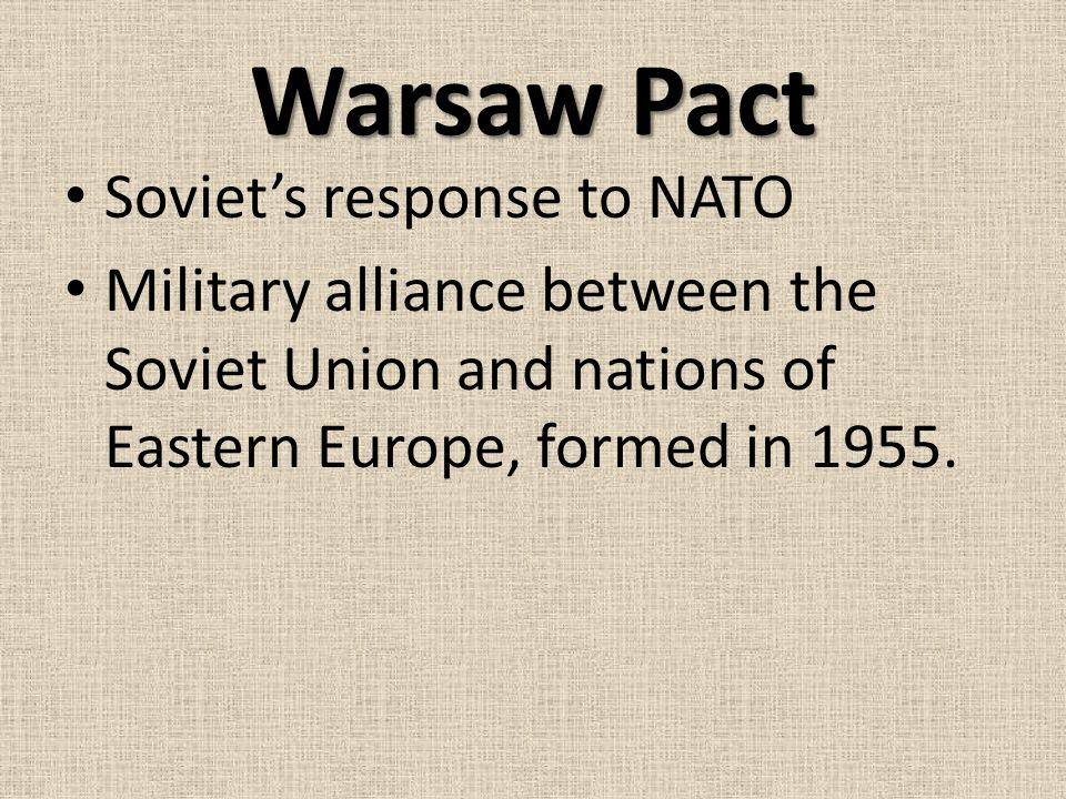 Warsaw Pact Soviet's response to NATO